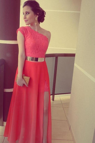 A Line Red One Shoulder Chiffon Lace Long Side Slit Gold Belt Prom Dresses uk PW68