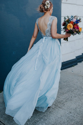 2018 Elegant Light Blue Beads Round Neck Chiffon A-Line Cap Sleeve Prom Dresses UK PH397