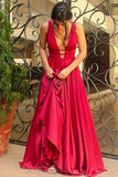 Sexy Deep V-Neck Long Mermaid Red Floor-Length Chiffon Sleeveless Simple Prom Dresses uk,9081