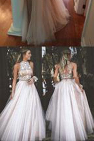 044ad78a4f1b New Style Sexy Two Piece silver beaded bodice High Neck Tulle Skirts  Champagne Prom Dress PH103