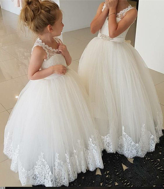 Princess Ivory Flower Girl Dresses with Lace Appliques, Cute Little Girl Dress FG1027