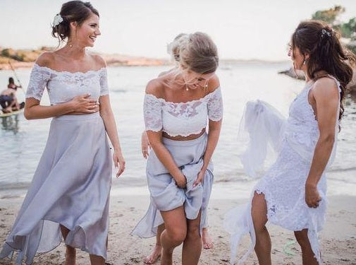 Two Pieces Lace Top Short Sleeve Off-the-Shoulder Beach Affordable Bridesmaid Dresses PM517