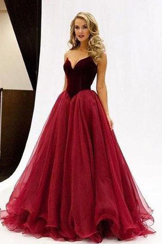 Charming V-Neck A-Line Organza Backless Strapless Noble Long Red Fashion Prom Dresses uk PH44