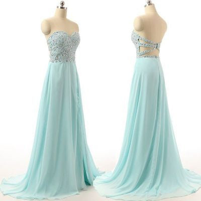 Long Charming Blue Strapless Sleeveless A-Line Sweetheart Prom Dresses uk PM936