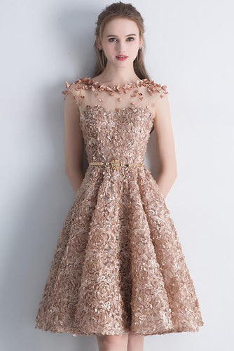 A Line Gold Cap Sleeves Scoop Lace Appliques Short Prom Dresses,Homecoming Dresses uk PH907