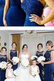 Stylish Halter Open Back Mermaid Navy Blue Bridesmaid Dress with Lace Beading PM613