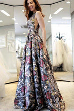 A-Line V-Neck Sweep Train Multi Color Printed Flower Sleeveless Backless Prom Dresses uk PH277