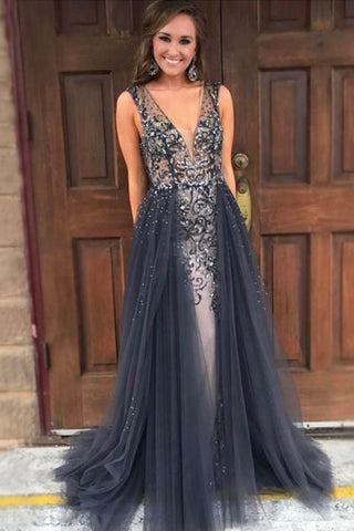 Elegant Mermaid V-Neck Sweep Train Grey Tulle Detachable Prom Dress with Beading PH652