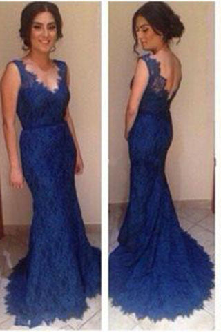 blue prom dress,long lace prom dress,mermaid prom dress,charming evening gown 2017,BD112