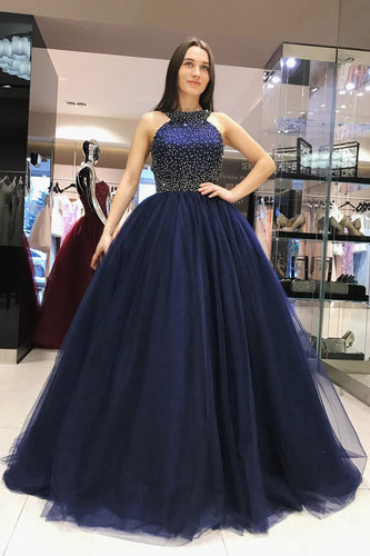 Elegant Scoop Royal Blue Ball Gown Open Back Halter Beading Tulle Prom Dresses UK PH438