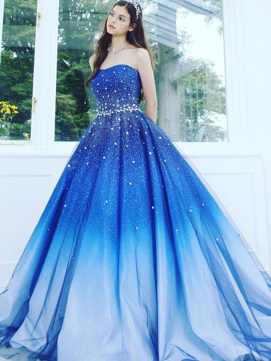 A Line Blue Strapless Sweetheart Ombre Sweep Train Ball Gown Beads ...
