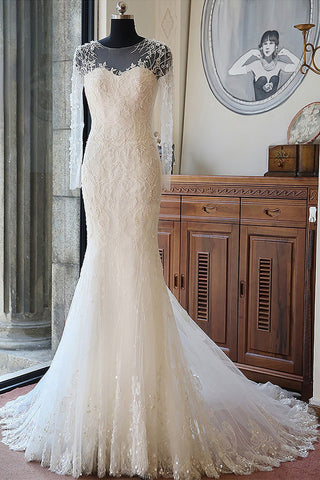 Elegant Mermaid Scoop Neck Tulle Beads Lace Appliques Chapel Train Long Sleeve Wedding Dress PH739