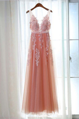 Charming Appliques Tulle V-Neck Beads Sleeveless Scoop Pearl Pink Prom Dresses uk PM408