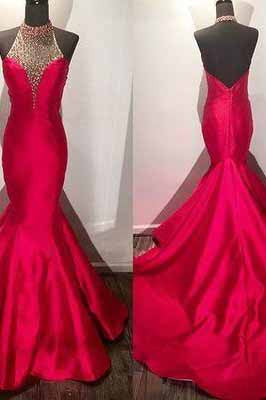 New Arrival Modest Beaded Halter Long Satin Fuchsia Mermaid Prom Dresses uk with Open Back PM930