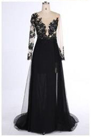 New Style Black Long Sleeves Lace Deep V Neck Thigh-High Slit Sexy Lace Evening Gowns PH111