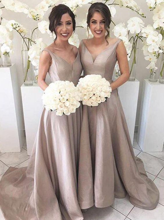 Simple V-neck Sleeveless Hi Low Sweep Train Silver Bridesmaid Dress PM615