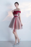 A Line Red Off the Shoulder Above Knee Short Sleeve Flowers Homecoming Dresses UK PW308