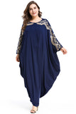 Long Sleeve Navy Blue Round Neck Prom Dresses, Plus Size Formal Dresses F7027