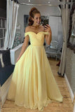 A Line Off the Shoulder Sweetheart Yellow Prom Dresses, Long Formal Dresses W1431