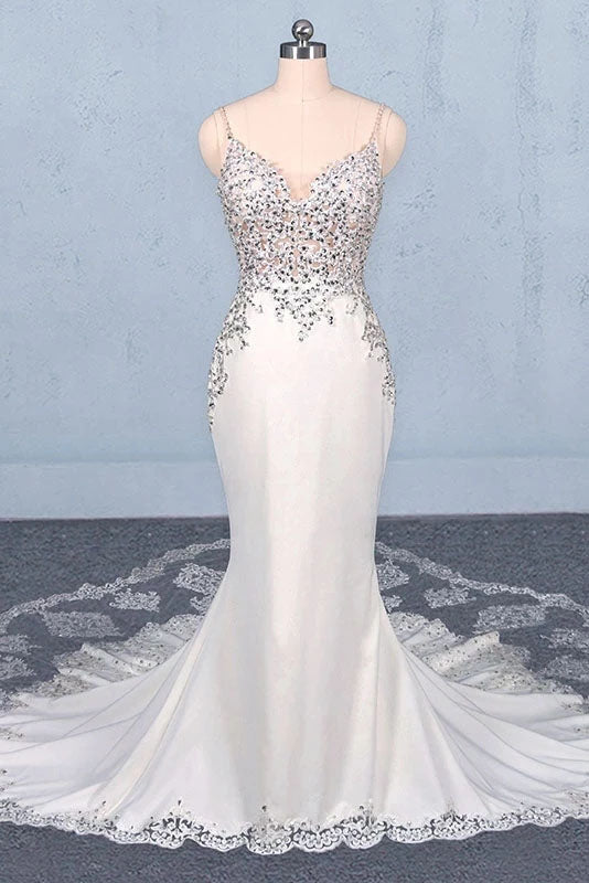 Spaghetti Straps Mermaid Wedding Dress with Lace, V-neck Wedding Dresses W1151