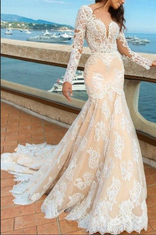 2018 White Lace Mermaid Deep V-Neck Backless Long Sleeve Wedding Dresses uk PM835