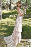Spaghetti Tired Lace Vintage Wedding Dress with Sweep Train, Round Neck Bridal Dresses W1178