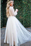 Princess Long Sleeve Lace Top Beach Wedding Dresses With Slit Tulle Ivory Wedding Gowns W1160