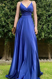 Royal Blue V neck Satin Long Prom Dresses, A Line Lace up Evening Dresses P1572