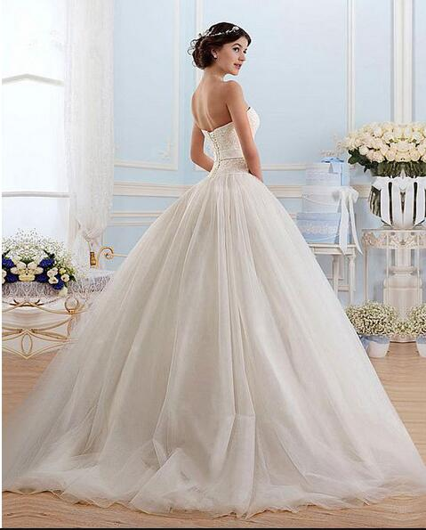 White Tulle Sweetheart Strapless Open Back Ball Gown