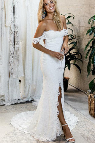 Off the Shoulder White Sweetheart Lace Sexy Mermaid Open Back Beach Wedding Dresses PH725