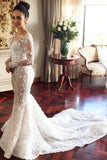 Charming Mermaid Long Sleeves Wedding Dress with Lace Appliques, Wedding Gowns W1157