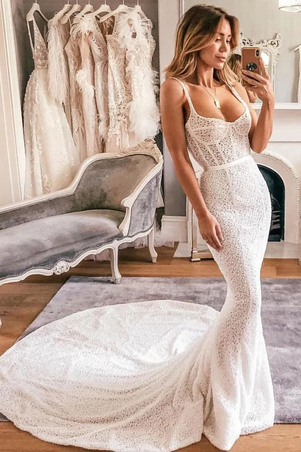 Sexy Mermaid Spaghetti Straps Lace Sweetheart Wedding Dresses, Bridal Dresses W1220