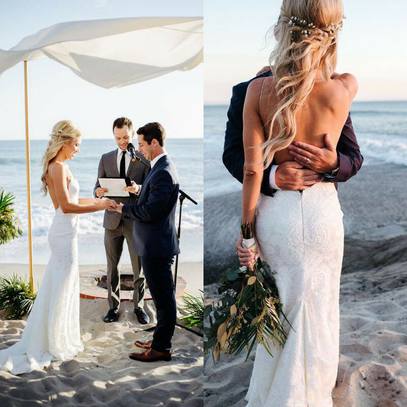 Spaghetti Straps V Neck Lace Wedding Dresses, Backless Mermaid Beach Wedding Gowns W1176