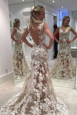 Elegant Lace Sheer Ivory V-Neck Appliques Sleeveless Mermaid Backless Wedding Dresses uk PH307