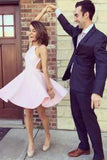 Pink Short Prom Dress Elegant New arrival A-Line Backless Halter Sleeveless Homecoming Dress PH27