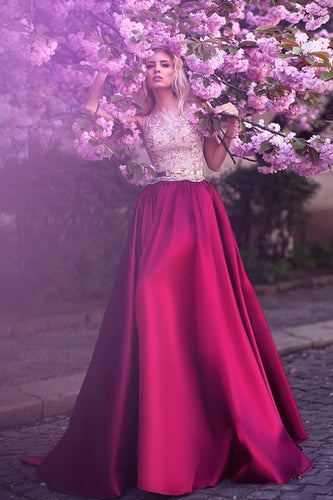Romantic A-Line Jewel Rose Red Satin Round Neck Prom Dresses with Lace Appliques PH458