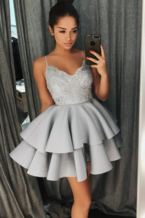 A-Line Spaghetti Straps Sweetheart Grey Satin Homecoming Dress with Lace Beading PH592