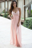 A-Line Spaghetti Straps Floor-Length Backless Sleeveless Pink Chiffon Lace Prom Dresses uk PM276