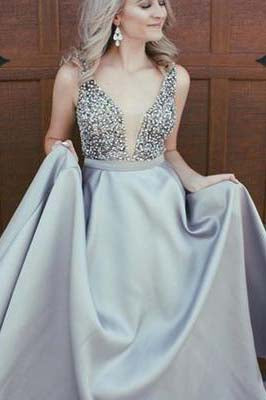 Sexy Elegant Sparkly Beads Top A-line Open Back V-Neck Stretch Satin Prom Dresses uk PM408