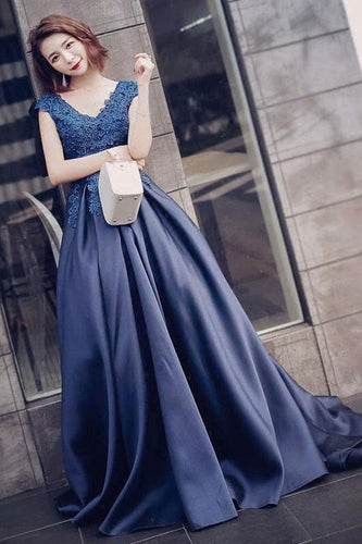 Charming A-Line V-Neck Navy Blue Satin Cap Sleeve Prom Dresses with Lace Appliques PH459