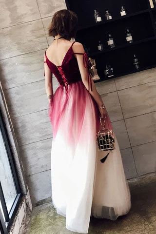 A Line Spaghetti Straps Ombre Long Tulle Prom Dresses, Burgundy V Neck Evening Dress P1226