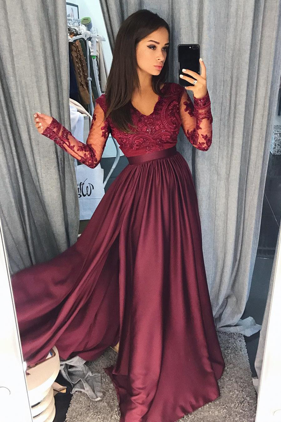 A Line Lace Long Sleeve Satin Burgundy Bead Slit V Neck