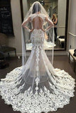 Vintage Long Sleeve Lace Open Back Floor-Length Mermaid Tulle White Wedding Dresses PM620