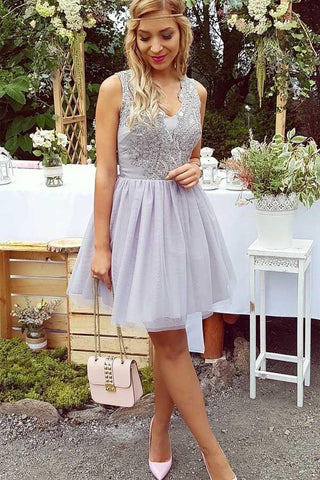 A-Line V-Neck Short Lilac Above Knee Tulle Appliques Homecoming Dress with Lace PM322