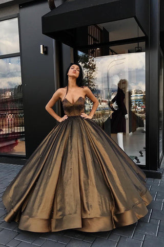 Ball Gown Sweetheart Brown Long Strapless Beads Taffeta Sleeveless Quinceanera Dresses uk PM774