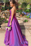 A Line Grape Spaghetti Straps Satin V Neck Long Prom Dresses Backless Evening Dresses P1393
