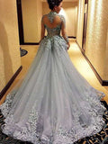 Gorgeous Ball Gown Princess Long Sleeves Tulle Gray Long Prom Dresses uk PM113