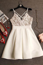Cute Simple Spaghetti Strap Sleeveless Satin Lace Homecoming Dress VT546