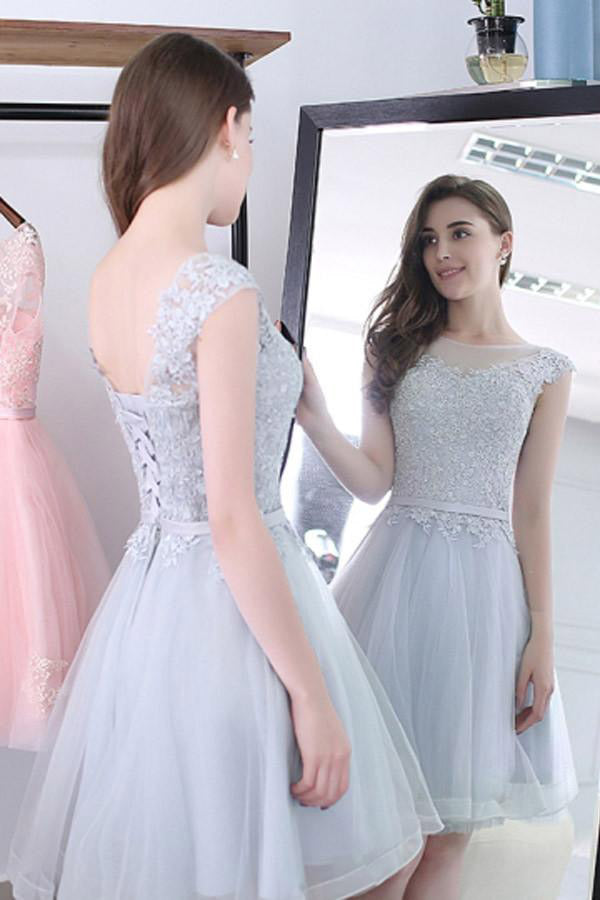 Scoop Sashes Appliques Sleeveless Mini Homecoming Dress Short Prom Dresses PM128