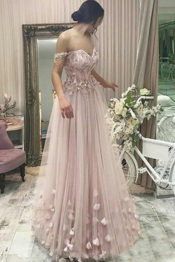 A-Line Off the Shoulder Pearl Pink Sweetheart Tulle Prom Dresses uk with Appliques Beads PH821